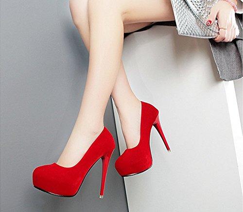 Oberflächlich High Tabelle Und Wasserdicht gules Dünn Heels Wildlederschuhe 12Cm Super KHSKX Roten Kopf Einzelne Schuhe Hochzeits Schuhe Runden vCqBBU