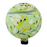 Northlight 10'' Yellow, Green and Blue Hand Painted Swirled Outdoor Patio Garden Gazing Ball