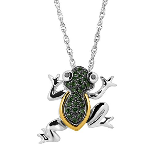 1/10 ct Green & Black Diamond Frog Pendant Necklace in Sterling Silver & 14K (Green Frog Pendant)