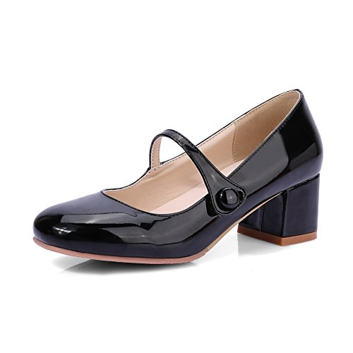 BalaMasa Womens Chunky Heels Low-Cut Uppers Round-Toe Black Patent-Leather Pumps Shoes - 6.5 B(M) US