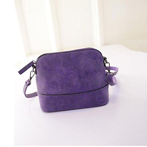 Fulltime (TM) Mujeres Scrub Bolsa de hombro bolso de mano de piel sintética Monedero bolso bandolera Messenger Bag Gris gris Talla:28*9.8*17.5cm Morado - morado