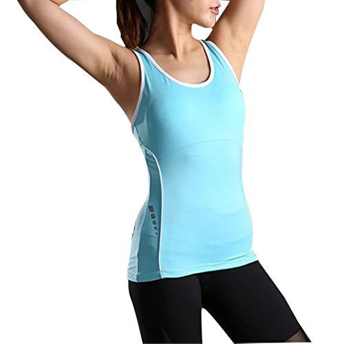 Zxl-yf Schnell trocknende Sportweste der Yoga-Weste weibliches beiläufiges laufendes ärmelloses T-Shirt der Fitness (Farbe : Blau, größe : S)