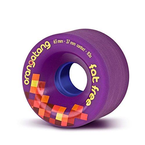 Orangatang Fat Free 65 mm 83a Freeride Longboard Skateboard Wheels (Purple, Set of 4)