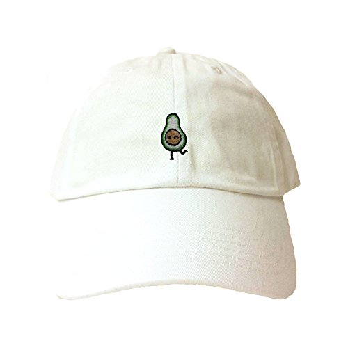 White Avocado - Go All Out Adjustable White Adult Avocado Embroidered Dad Hat
