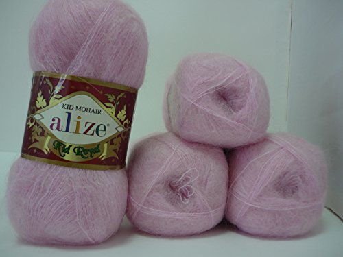 Alize Kid Royal Mohair Yarn Wool Thread Crochet Knitting Lace 4 skeins 200 gr 2184 yds - Kid Mohair Knitting Yarn