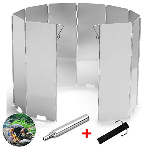 Camping Windshield,Stove Windscreen for Camp, 10 Plates Foldable Outdoor Cooking Portable Wind Guard Aluminum Alloy Lightweight for Hiking, Backpacking, Camping