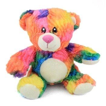 (Rainbow Tie Dye Teddy Bear Plush Stuffed Animal Toy by Fiesta Toys - 10.5