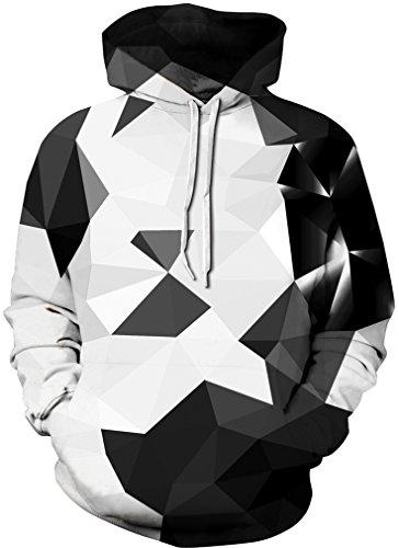FLYCHEN Men's 3D Hoodie Pullover Print Pattern Fashion Sweatshirt Unisex Hoody S/M Black Crystal