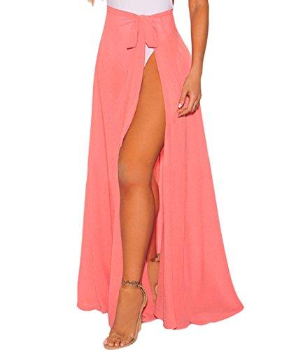Lalagen Womens Wrap High Waist Summer Beach Cover up Maxi Skirt