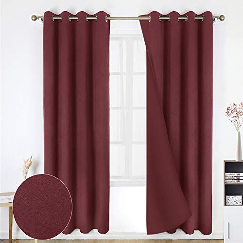 HOMEIDEAS 100% Blackout Curtains - 2 Panels Burgundy Room Darkening Window Curtains, Thermal Insulated Solid Grommet Drapes for Bedroom & Living Room, 52 x 95 inches