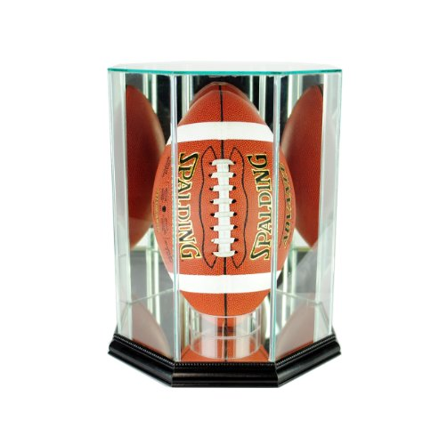 (Perfect Cases NFL Upright Octagon Football Glass Display Case, Black)