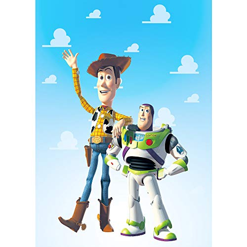 Blue Sky White Clouds Backdrops for Photography 5x7ft Woody Toy Story Background for Baby Shower Buzz Lightyear Happy Birthday Party - Invitation Woody