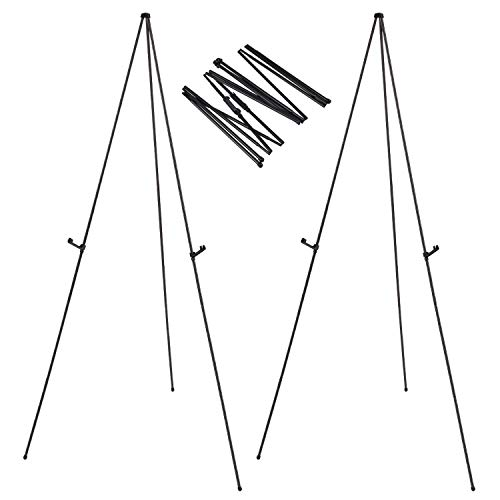 """Folding Instant Display Easel, 66"""" Tall Floor Poster Easel, Black Steel Metal Telescoping Easel, Easy Assembly, 2 Pack"""