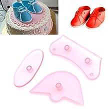 GaoCold 3Pcs Baby Shoes Decorating Tools Cutter Mold Sugarcraft Fondant Cake Baking Make