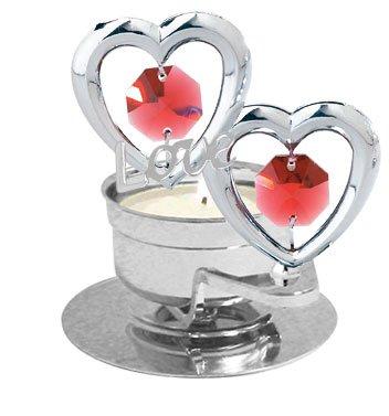 Chrome Plated Love Twin Hearts Tea-Light..... With Red Swarovski Austrian Crystal