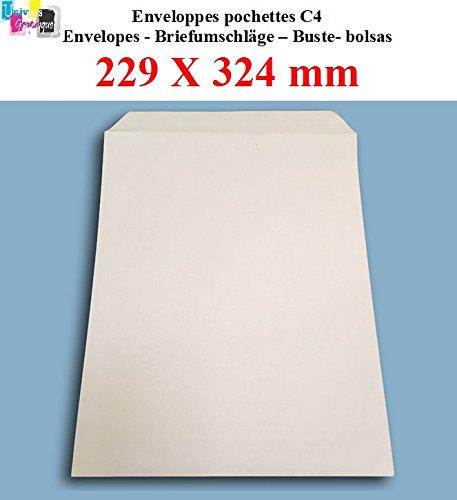 Confezione di 20grande busta tasca posta A4–C4carta kraft bianco 90g, formato 229x 324mm una busta bianca con chiusura banda adesiva autocollante siliconnée UNIVERS GRAPHIQUE ugenva41