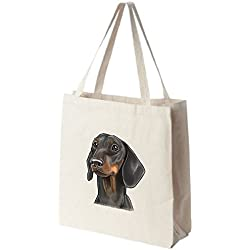 Black and Tan Dachshund Tote Bags - Over 200 Different Breed and Animal Designs to Choose From - Extra Large 100% Cotton Over the Shoulder Handbags - Painted by Hand and Printed in the U.S.A.