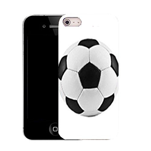 Mobile Case Mate IPhone 4s clip on Silicone Coque couverture case cover Pare-chocs + STYLET - WHITE FOOTBALL pattern (SILICON)