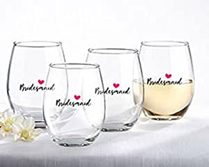 Kate Aspen 30023NA-BRM4  Bridesmaids Pink Heart 15 Oz. Stemless Wine Glass (Set of 4)