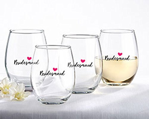 Kate Aspen, Bridesmaids Pink Heart Stemless Wine Glass, Party Favors, 15 Oz. (Set of 4) -