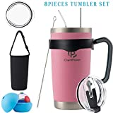 CHANTPOWER 20oz/30oz Tumbler, Travel Coffee Mug Set for Cold & Hot Drinks. Double Wall Stainless Steel Vacuum Tumbler with Splashproof Lids, Straws, Brush, Handle, Tumbler Sleeve and Ice Mold.