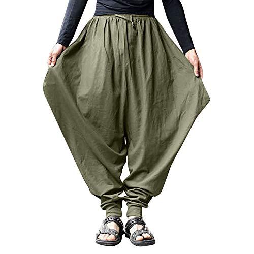 en long de coton Pottoa Festival Baggy à hommes Mens pantalon gypsy lin large Harem Pantspantalon pantalon rétro vert Harem pantalon pour jambe QdCtshr