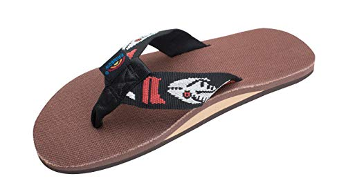Rainbow Sandals Men's Hemp Single Layer Fish Strap with Arch, Brown/Silver Fish, Men's XXX-Large / 13.5-15 D(M) US