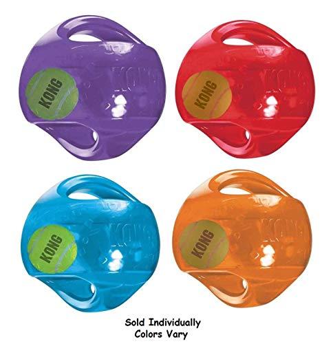 KONG Medium Dog Toy Jumbler Ball Shape Tennis Ball Inside 2-in-1 Squeaker Colors Vary (Air Kong Dog Balls)