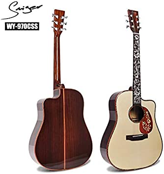 XUJJA Guitarra acústica 41 Pulgadas de Ancho, de Madera de Rosa de ...