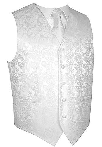 (Men's 3pc Paisley Design Dress Vest Tie Handkerchief Set For Suit or Tuxedo (XS (Chest 39), White))