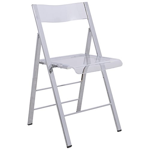 LeisureMod Milden Modern Acrylic Folding Chairs in Clear by LeisureMod
