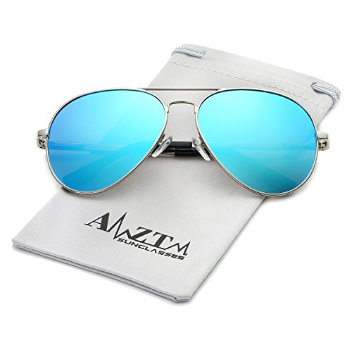 AMZTM Top Quality Classic Double Bridge Metal Frame Fashion Mirrored Reflective REVO Polarized Lens Designer Aviator Sunglasses For Men and Women (Silver Frame Ice Blue Lens, 62) (Aviator Bridge)