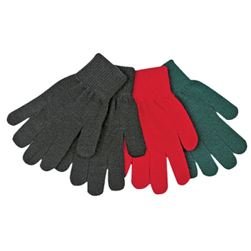 KINCO 20-Y Magic Stretch Knit Gloves, Acrylic Blend, Ages 7-12, Youth, Black/Red/Green