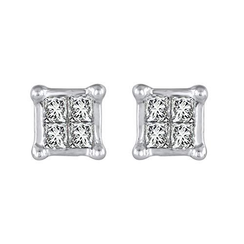 10k White Gold Princess Diamond Square Cluster Stud Earrings (1/10 cttw, HI-Color, I2-I3 Clarity) ()
