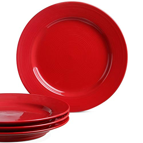 Le Tauci Dinner Plates set, 10 Inch Ceramic Plates,Set of 4 True Red (Plate Set Red)