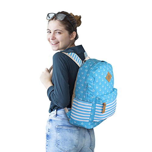 Queenie - Cotton Canvas School Backpack Casual Daypack Shoulder Bag for Teens Girls Boys (8833 Sky Blue) by Queenie (Image #2)