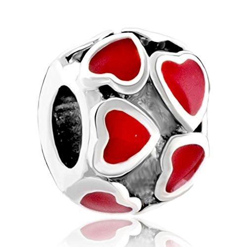 Pugster Red Heart January Birthstone European Beads Love Charms Fit Pandora Chamilia Biagi Charms - Pugster January Charm