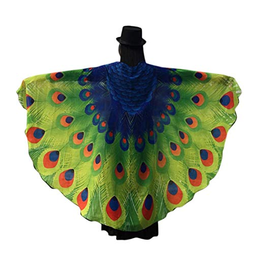iDWZA Colorful Peacock Wings Shawl Fairy Ladies Nymph Pixie Costume Accessory(197125cm,Green)