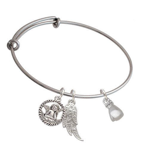 Silvertone Small Boxing Glove Angel Expandable Bangle Bracelet