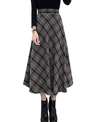 Tanming Women's High Waist Wool Blend A-Line Long Midi Plaid Skirt