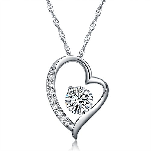 - Alberoo You are The Only One in My Heart S925 Sterling Silver Cubic Zircon Pendant Necklace