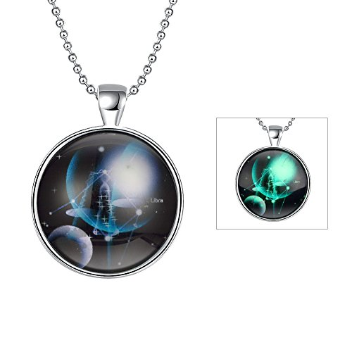 [iCAREu Silver Plated Necklace with a Fluorescent Signs of The Zodiac Pendant, 24