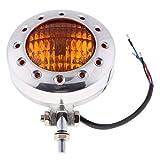 MagiDeal 12V Motorcycle Headlight H4 Amber Light for Harley Bobber - Chrome Amber Lens