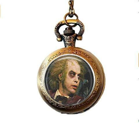 Amazon Com Beetlejuice Shrunken Head Guy Pocket Watch Necklace Kitchen Dining
