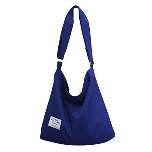 ZIIPOR Women's Canvas Crossbody Bag Casual Hobo Bag Shoulder Bag Shopping Bag (Blue)
