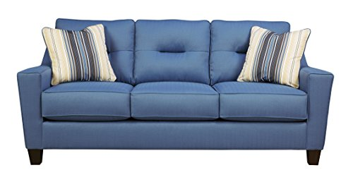 Benchcraft – Forsan Nuvella Contemporary Sofa Sleeper – Queen Size Mattress Included – Blue