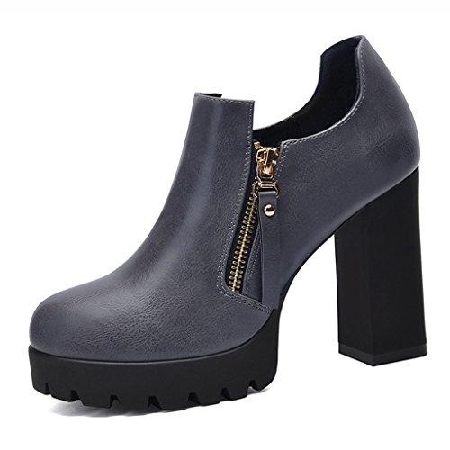 Chaussures femme HWF Shallow Mouth Chaussures Simples Femmes Talons Hauts en Cuir Chaussures pour Femmes (Couleur : Gris, Taille : 36) Gris
