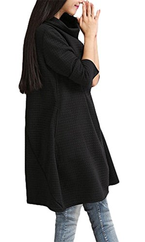 Oversize Manche Tunique Col Long Benitier Robe Casual Robe Automne Femme Pull Landove Taille Sweat Grande Top Jumper Noir Unie Hiver Longue Sweatshirt Cx5qUS