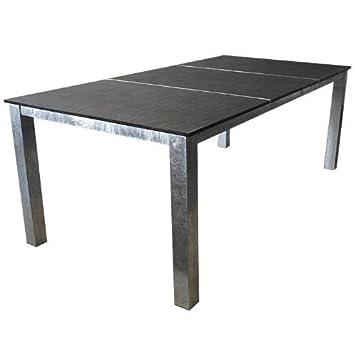 Amazon De Gartentisch Schiefer 206x100cm Silber Schwarz