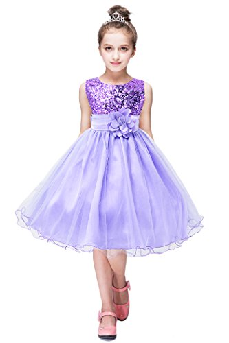 YMING Flower Girl Dress Pageant Party Dress Tutu Sequin Dress Princess Maxi Dress 7-8 Years Lilac (Lilac Tutu)